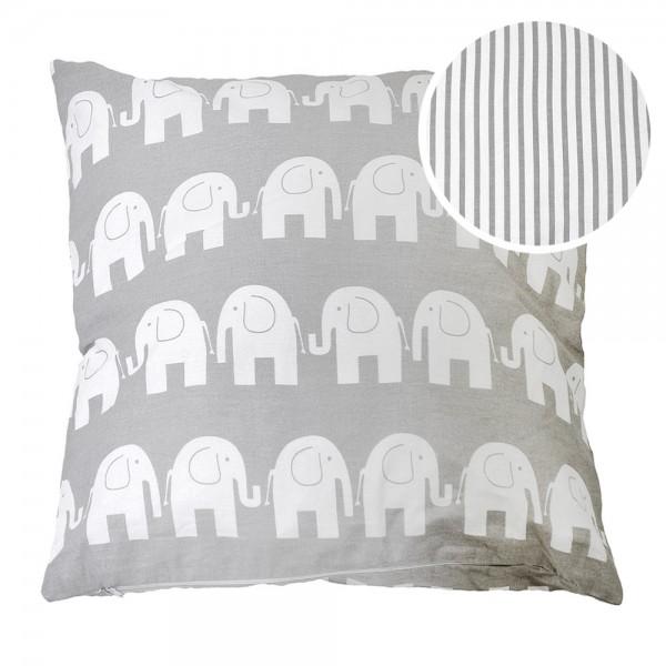 Kissen 50x50 cm Elefanten/Streifen