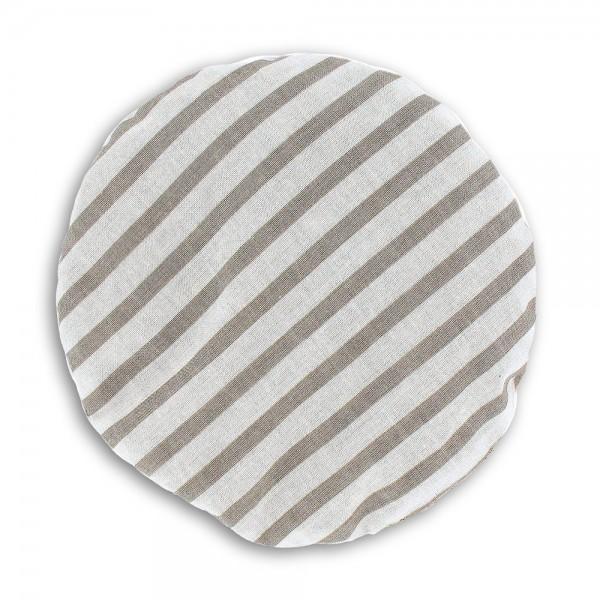 Kirschkernkissen gestreift grau/weiß