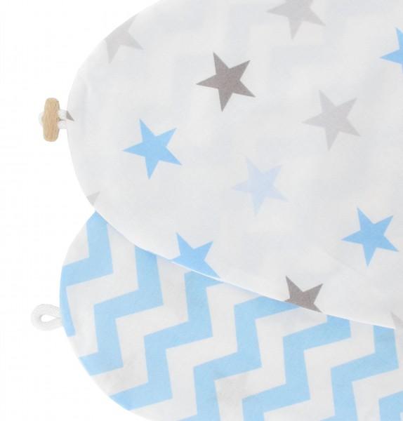 Bezug für Stillkissen Sterne blau Zickzack