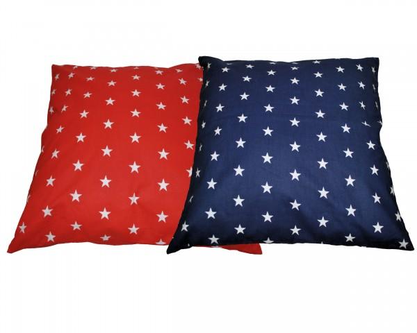Kissen 50x50 cm Sterne rot/blau Wendedesign
