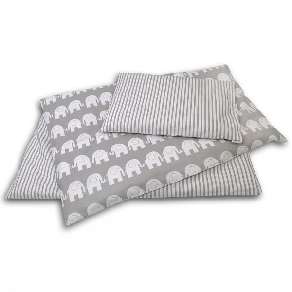 Kinderbettwäsche Elefanten/Streifen