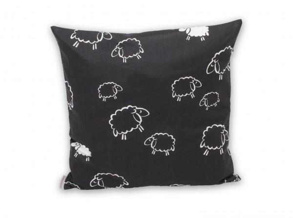 Kissen 50x50 cm Schafe schwarz/weiß