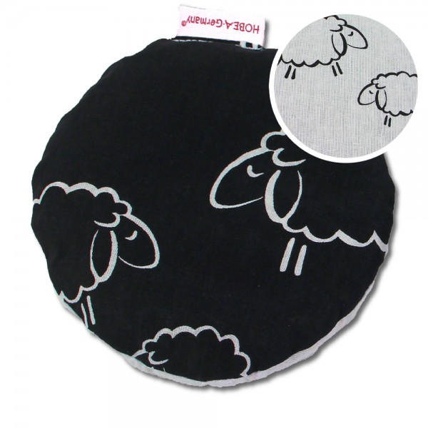 Kirschkernkissen Schafe schwarz/weiß