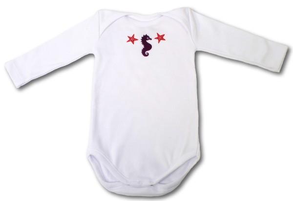 Thermochrom Baby Body Seepferdchen weiß