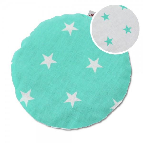 Kirschkernkissen Sterne mint/weiß