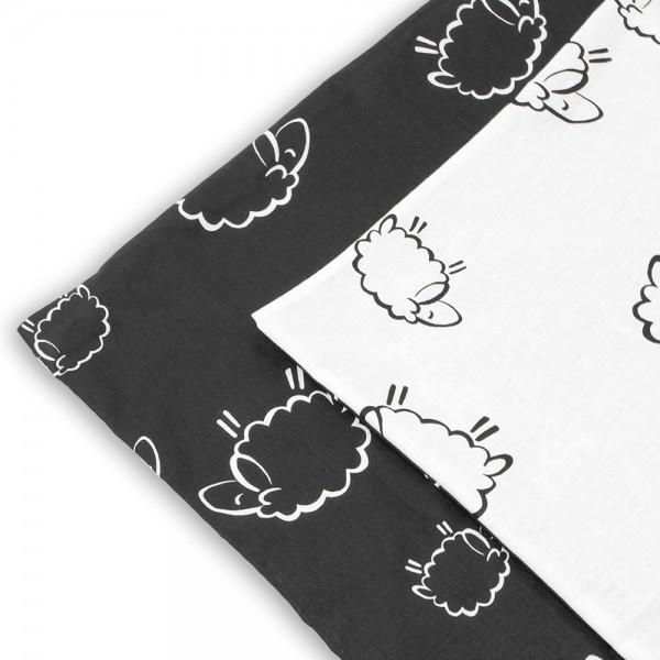 Kissenbezug 50 x 50 cm Schafe schwarz/weiß