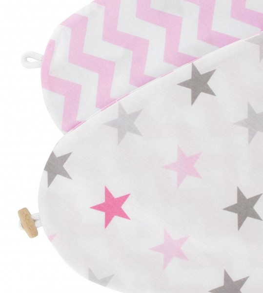 Bezug für Stillkissen Sterne pink Zickzack
